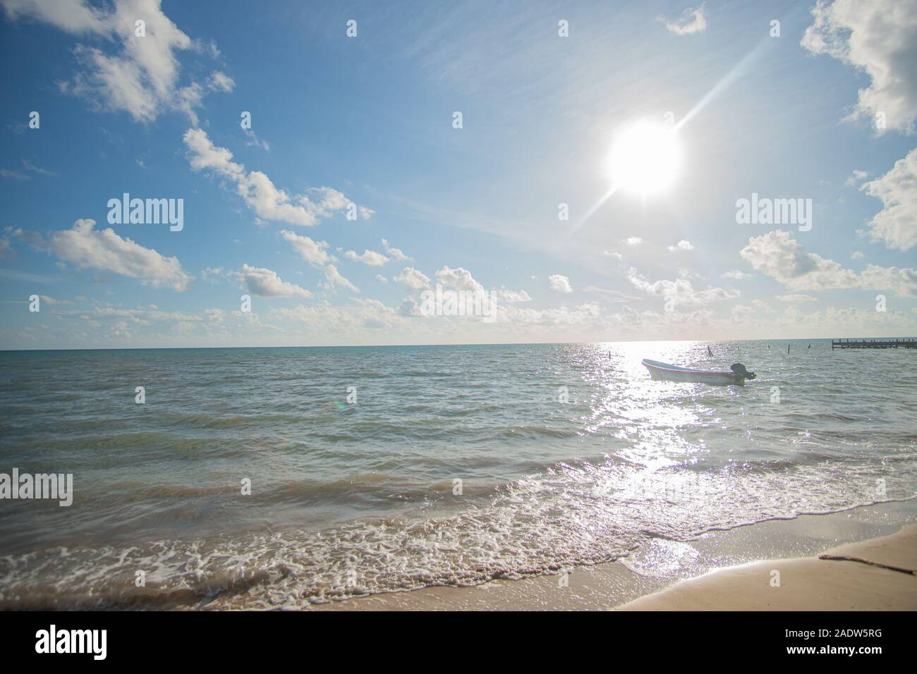 Heavenly Beach in Punta Allen at the caribbean Sea Stock Photo