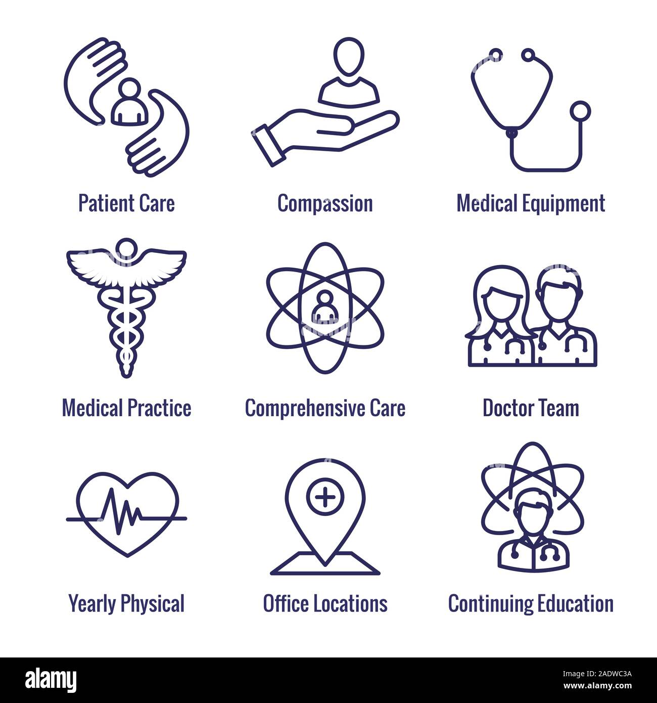 Physician Care Icon Set with medical, patient, and health care, etc Stock Vector