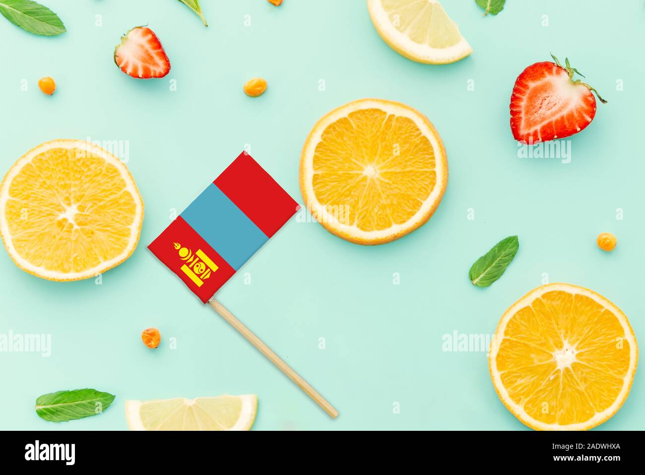 Mongolia Paper Stick Flag. National summer fruits concept, local food market. Vegetarian theme. Stock Photo