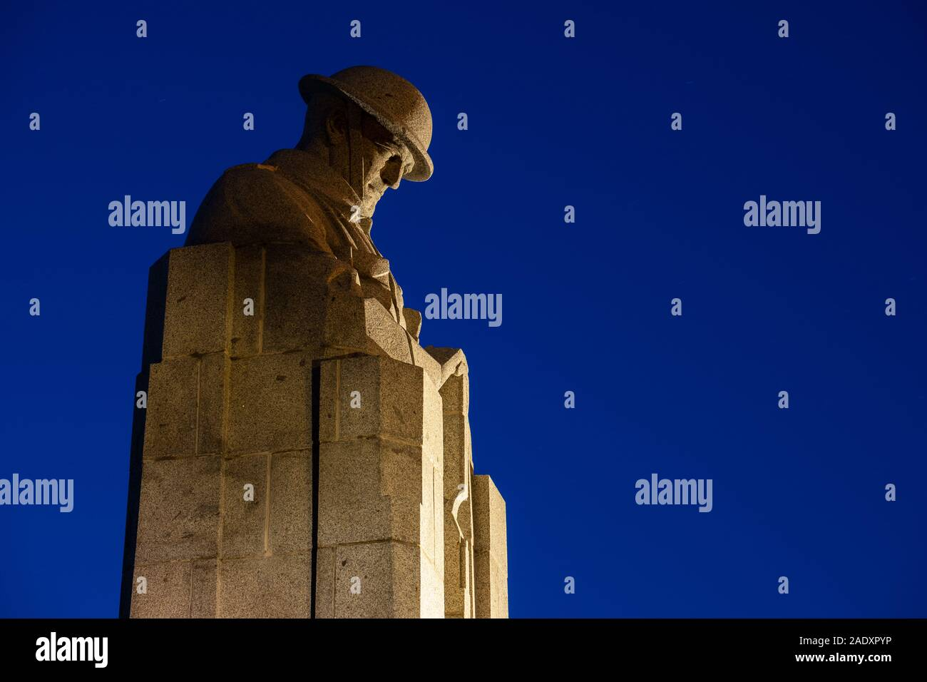 The Canadian Memorial at Vancouver Corner before dawn, St Julien, Ypres Salient, Belgium Stock Photo