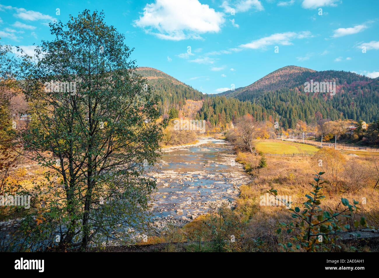 Mountain river on an autumn sunny day Stock Photo