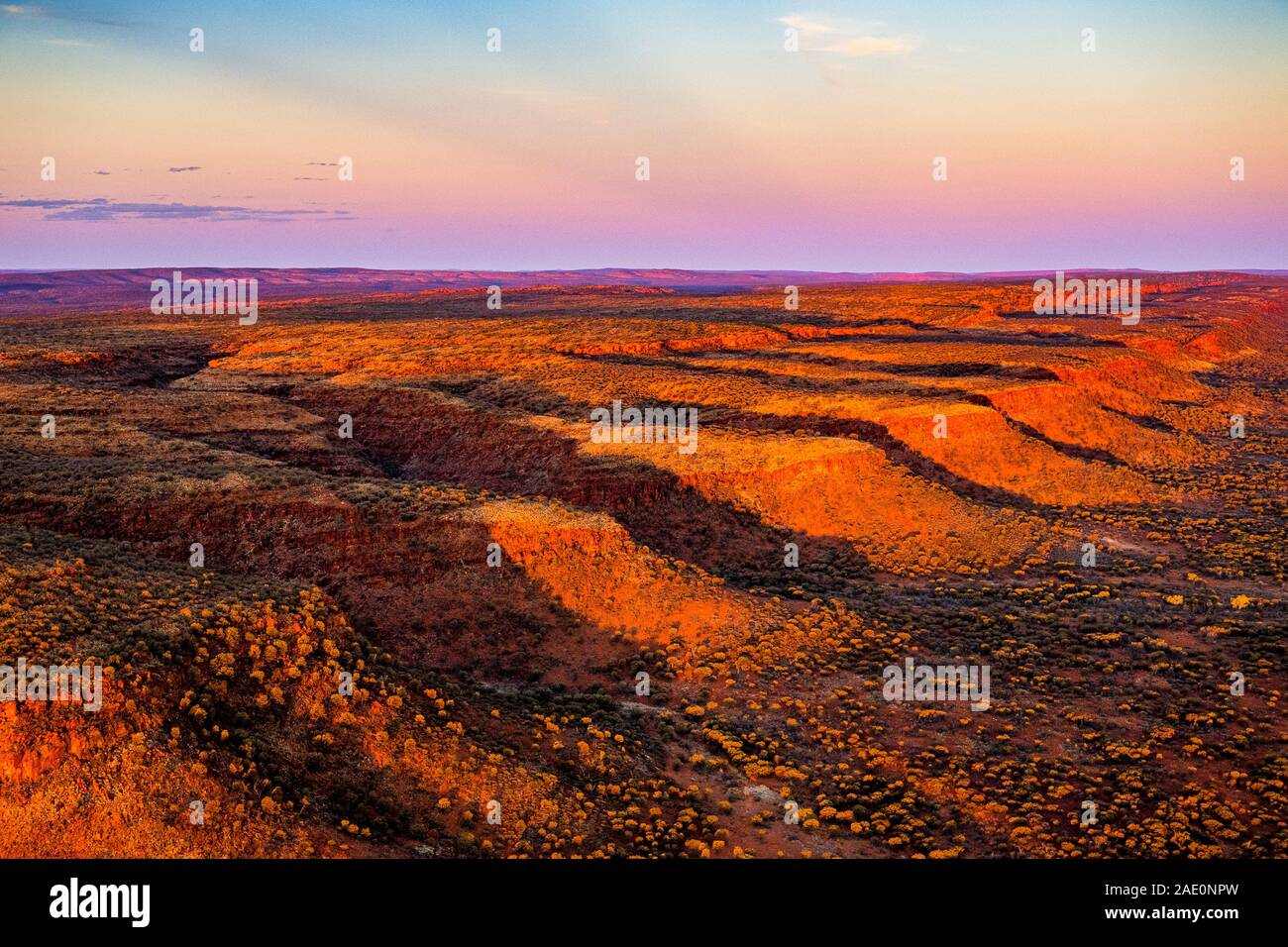 Stunning aerial views of the George Gill Range at sunset. Located in remote central Australia. Stock Photo