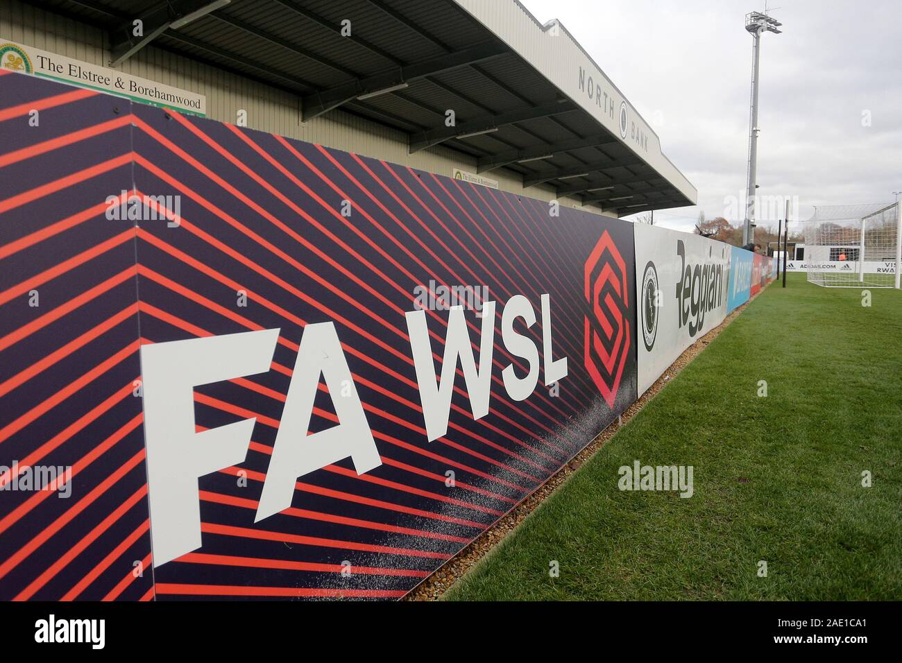General view of the FAWSL signage during Arsenal Women vs Bristol City Women, Barclays FA Women's Super League Football at Meadow Park on 1st December Stock Photo