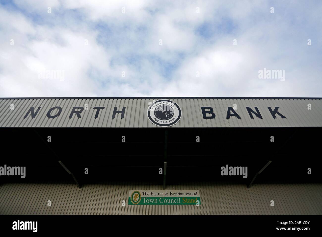 General view of the North Bank signage during Arsenal Women vs Bristol City Women, Barclays FA Women's Super League Football at Meadow Park on 1st Dec Stock Photo