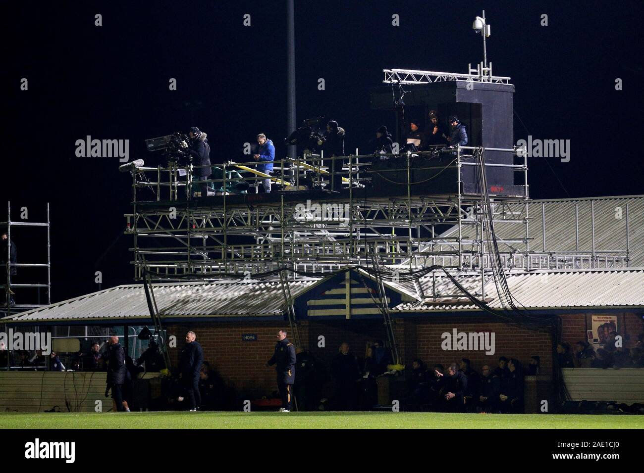 BBC TV gantry erected above the dugout area during Maldon & Tiptree vs Newport County, Emirates FA Cup Football at the Wallace Binder Ground on 29th N Stock Photo