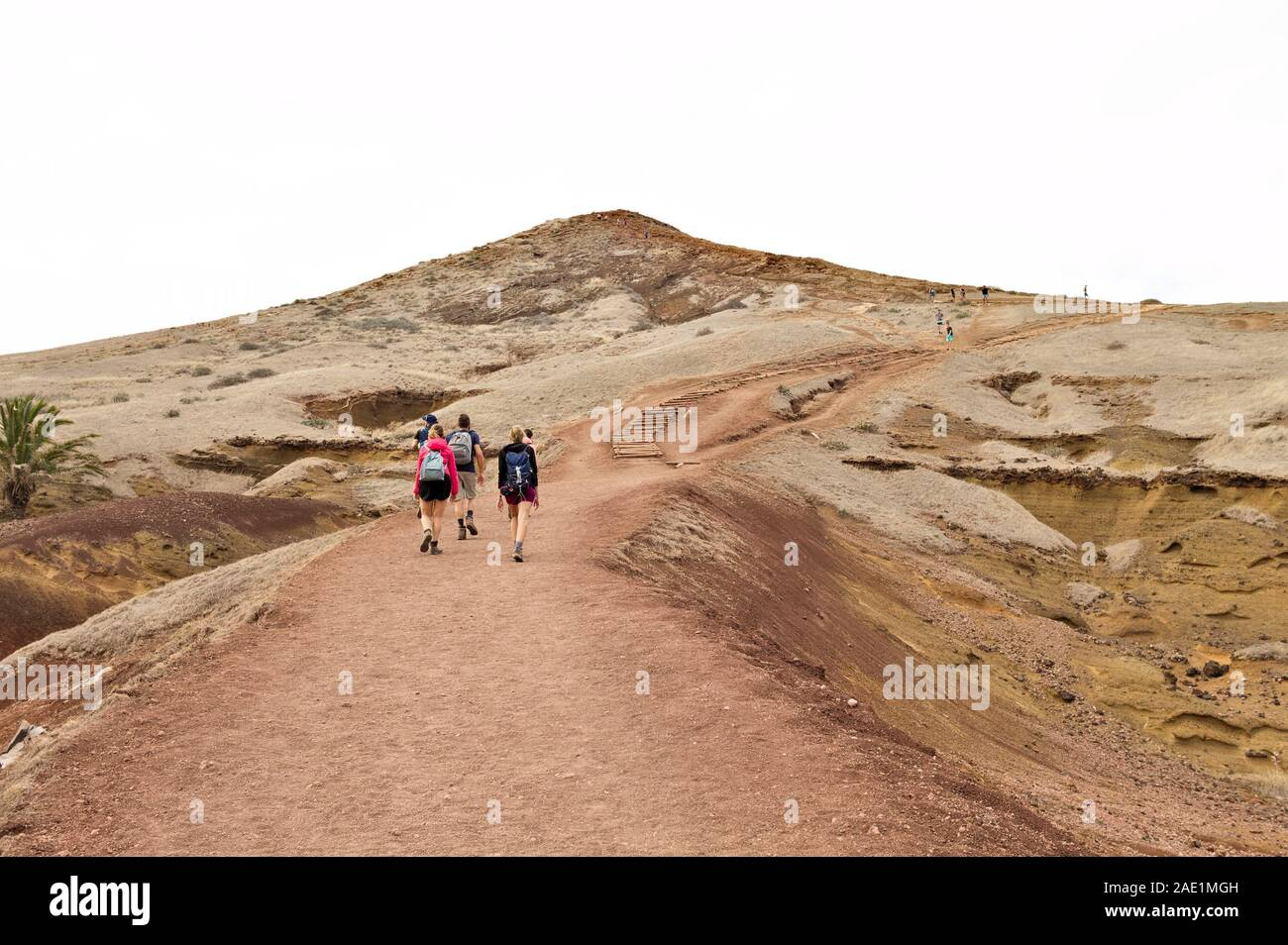 A group of hikers walking along a desert pathway with volcanic rocks and sand dunes in Madeira Island (Ponta de Sao Lourenco, Portugal, Europe) Stock Photo