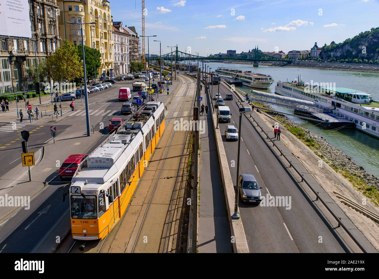 Tram on the road in Budapest, Hungary Stock Photo
