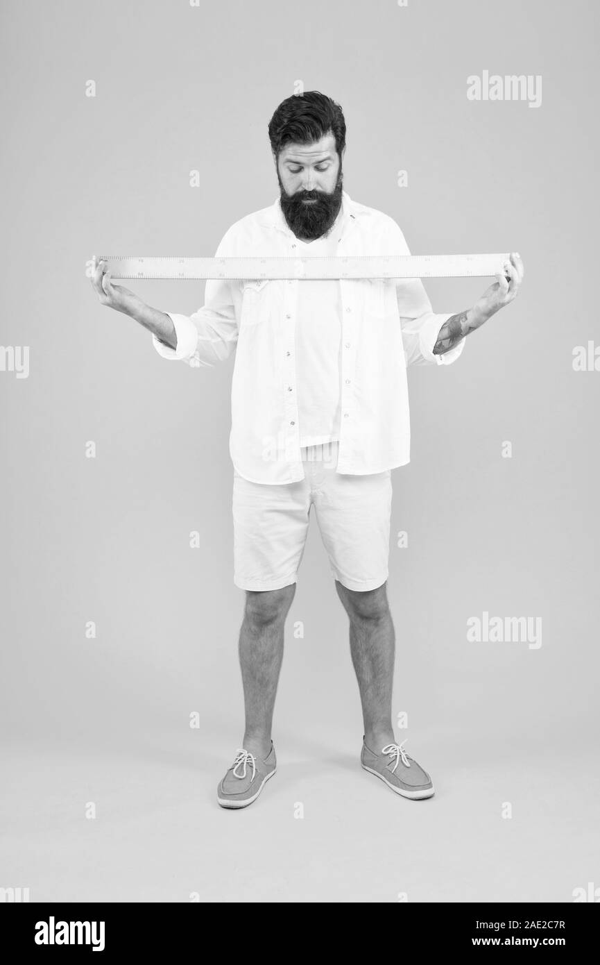 One Meter Big Size Measure Geometry Theorem Actual Size School Teacher Small Little Big Large Does Size Really Matter Man Bearded Hipster Holding Ruler Measure Length Size Tall And Length Stock Photo