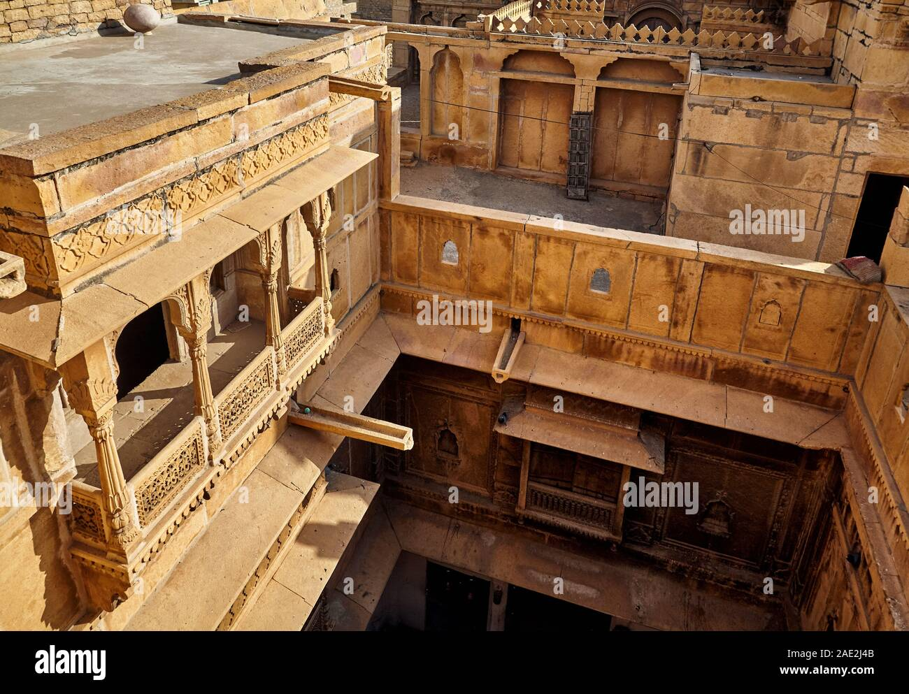 Architecture of old Haveli view from roof top in Jaisalmer, Rajasthan, India Stock Photo