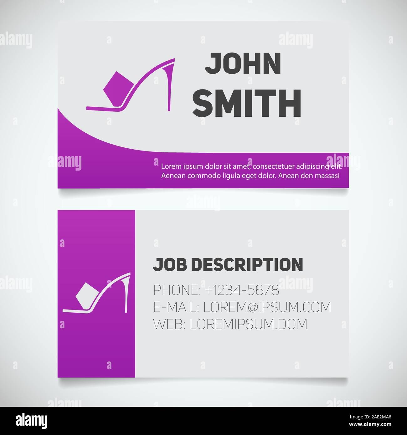 Business card print template with high heel shoe logo. Women