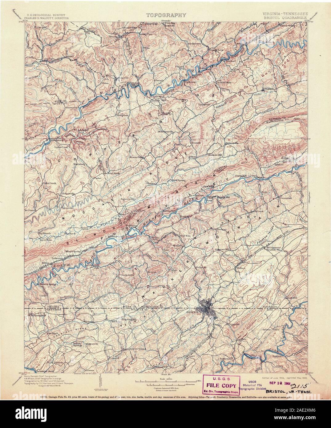 USGS TOPO Map Tennessee VA Bristol 188865 1902 125000 ...