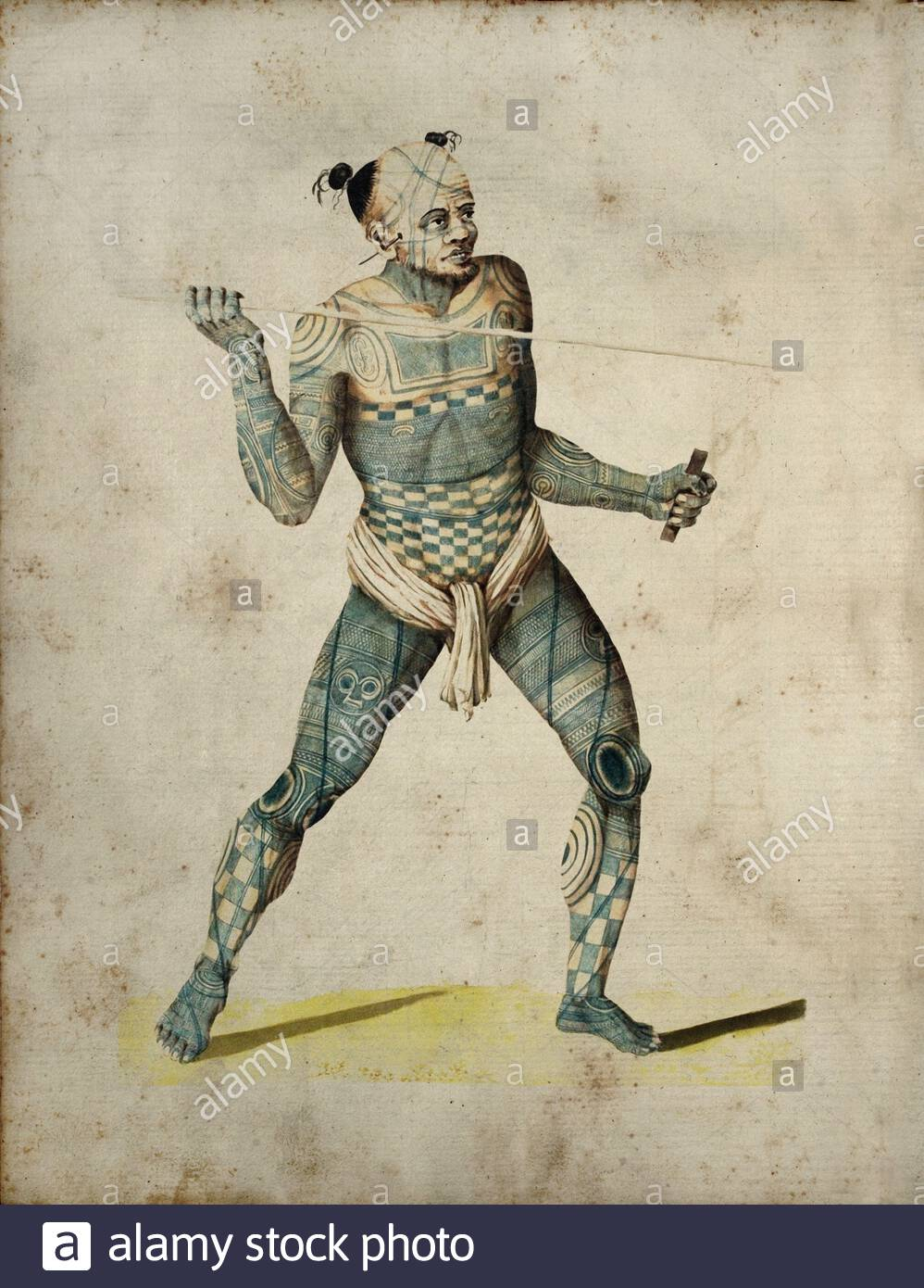 Nuku Hivan warrior. The Nuku Hivans were heavily tattooed with different geometrical shapes. Their tattoos also had a certain social meaning – the mor Stock Photo