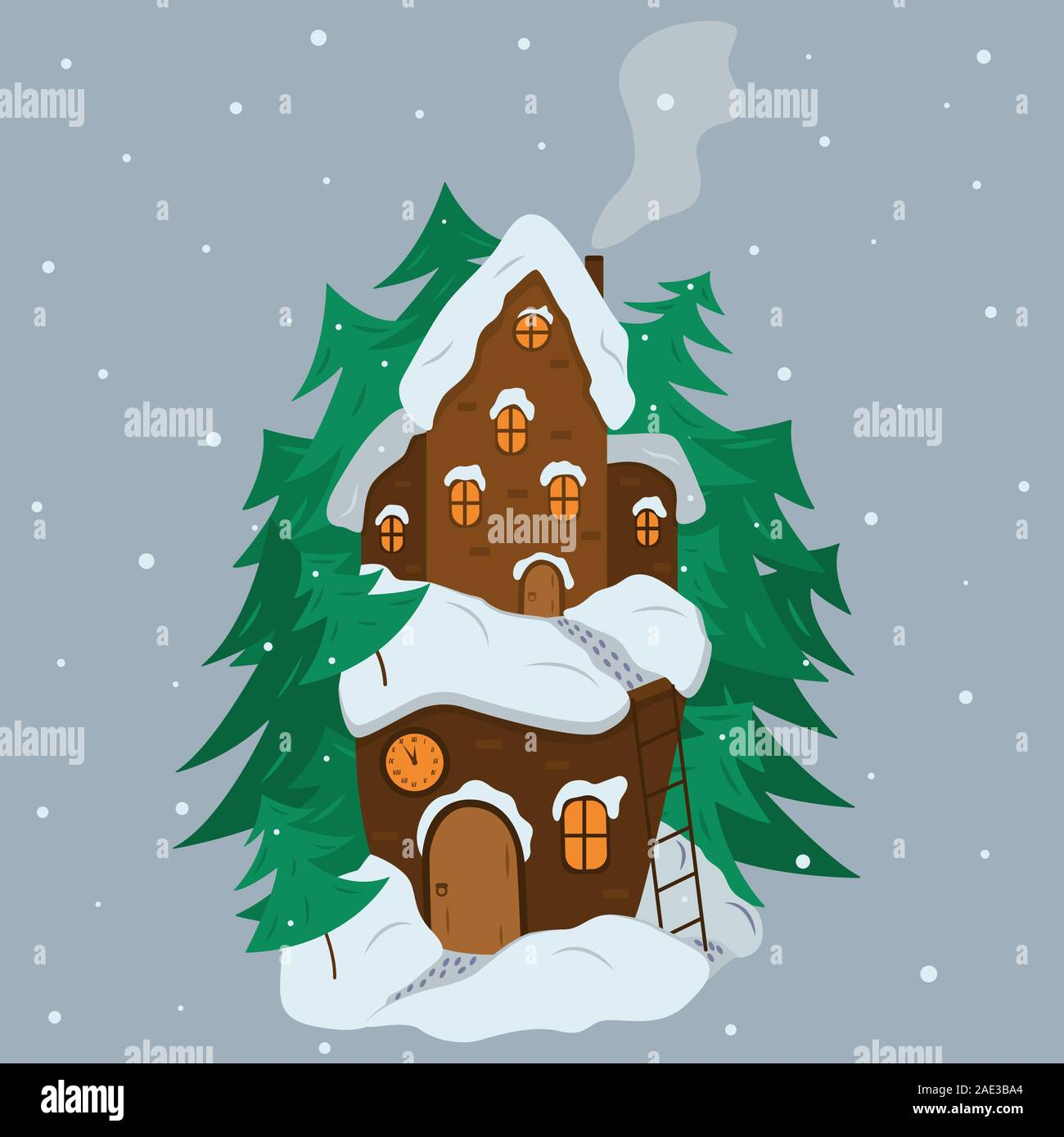 Fairytale house in winter among Christmas trees and snow. Cartoon illustration. Two-storey snow-covered house with a chimney and smoke, stair and foot Stock Vector