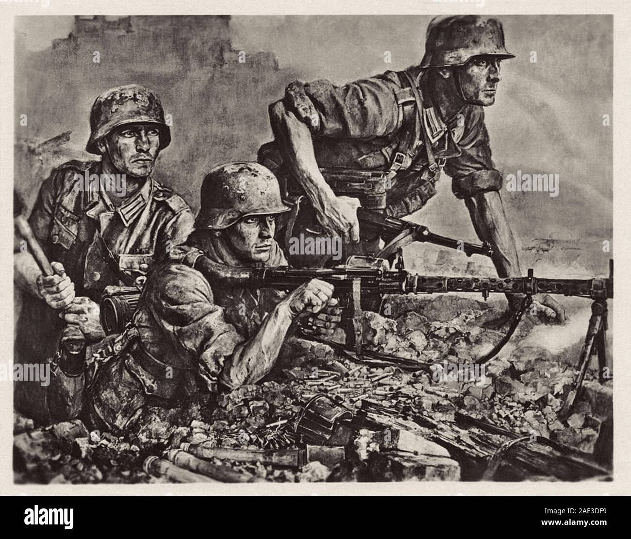 German soldiers during invasion of France. Nazi German postcard by Wilhelm Sauter, 1940s Stock Photo