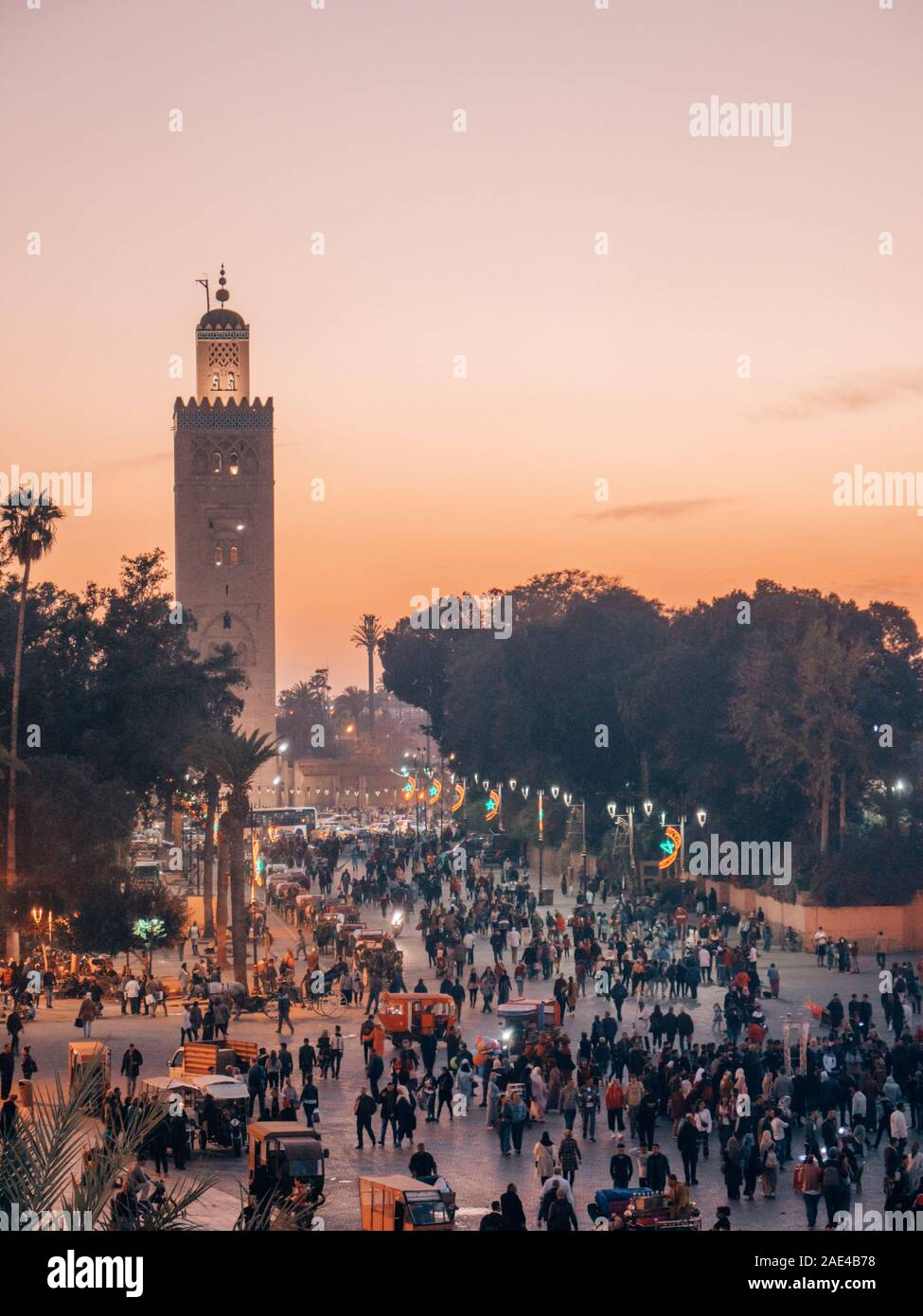 Djemaa el Fna main market place in Marrakech, Morocco while sunset Stock Photo