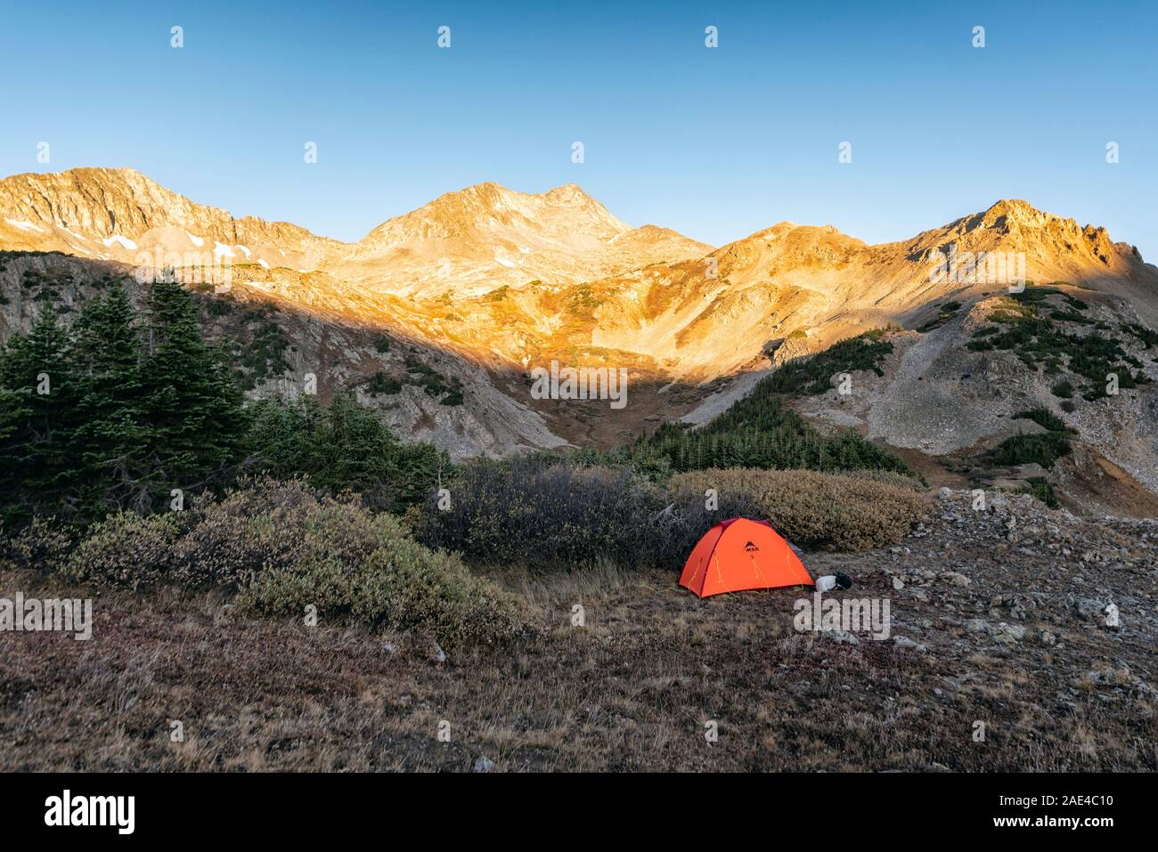 Camping In The Maroon Bells Snowmass Wilderness Stock Photo