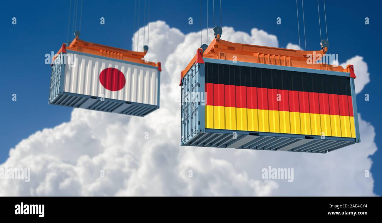 Freight container with Japan and Germany national flag. 3d rendering Stock Photo