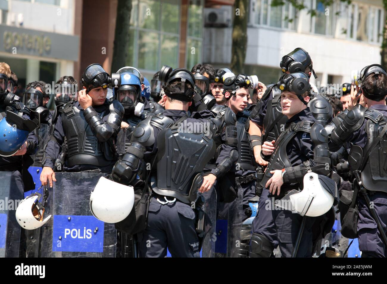 ISTANBUL, TURKEY - MAY 1: International Workers Day. Turkish riot police  officers are preparing for protesters on