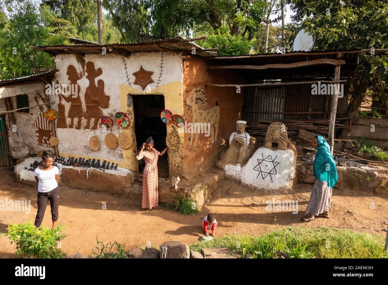 Ethiopia, Amhara Region, Gondar, Wolleka Falasha Jewish Village, decorated crafts shop with Star of David Stock Photo