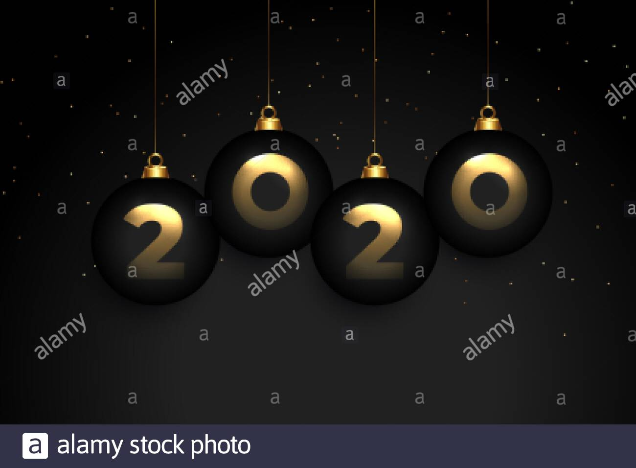 Elegant 2020 Black Premium New Year Wallpaper Design Stock