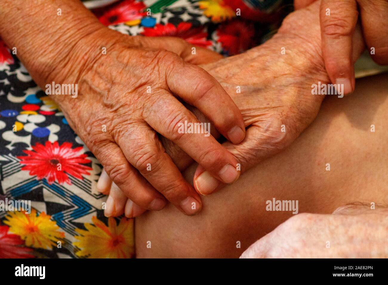 Elderly husband and wife hold hands with love. Grandparents hold each other's hands. Retirees in a nursing home are bored. Stock Photo