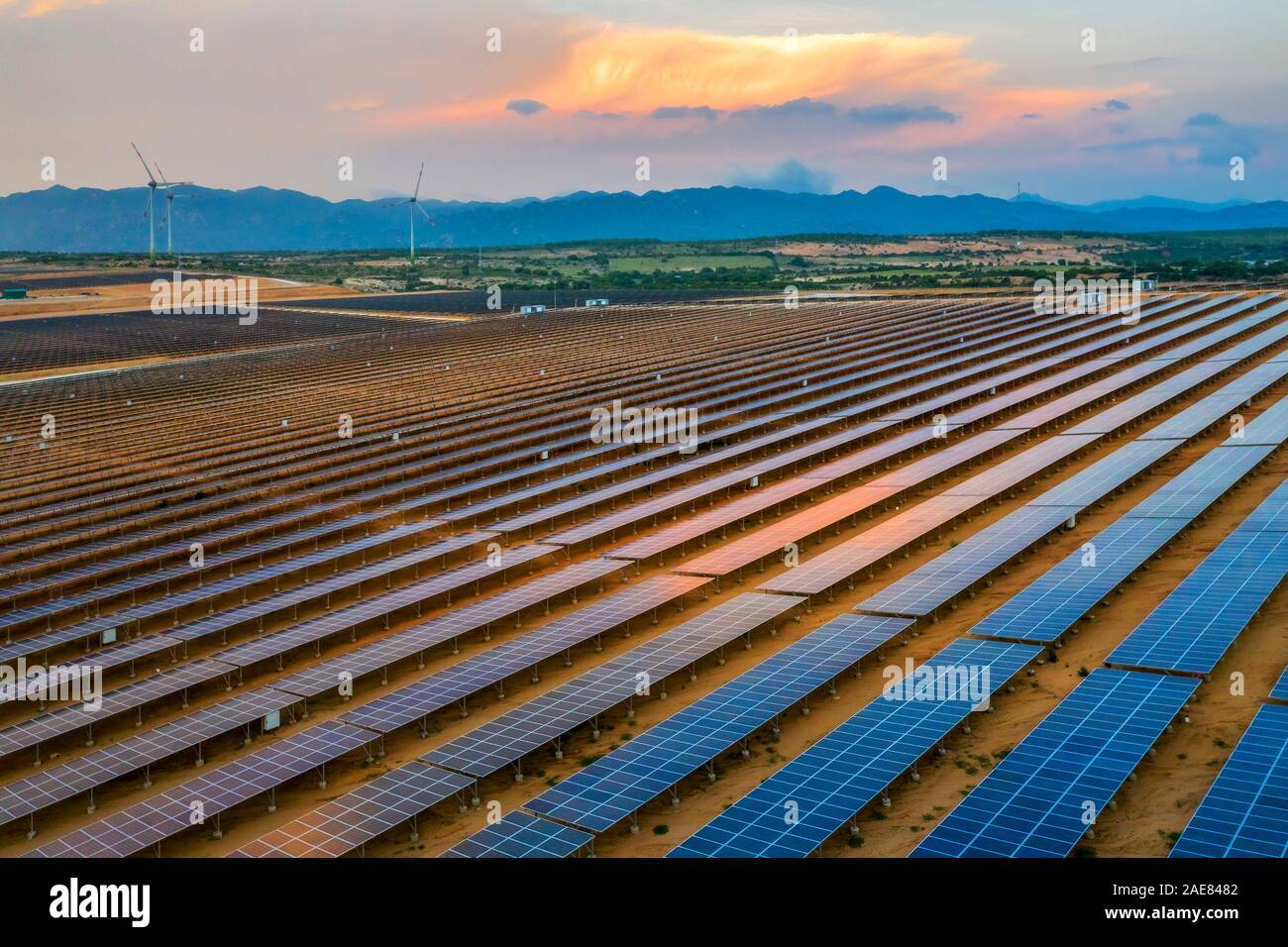 Aerial view of Solar panel, alternative electricity source - concept of sustainable resources on Phuoc Dinh, Ninh Phuoc, Ninh Thuan, Vietnam Stock Photo