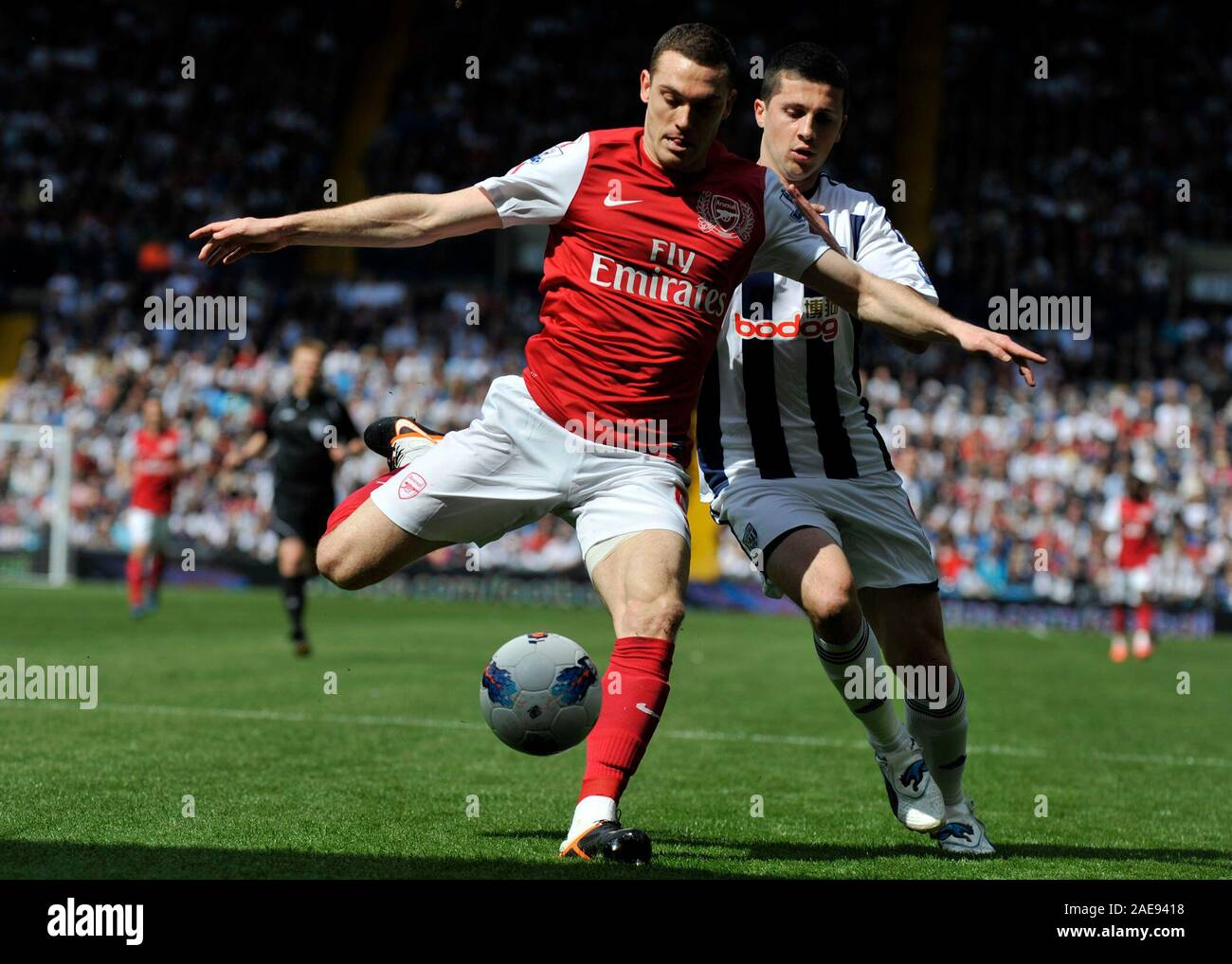 13th May 2012 Soccer Premiership Football West Bromwich Albion Vs Arsenal Thomas Vermaelen Clears In Front Of Shane Long Of West Bromwich Albion Photographer Paul Roberts Oneuptop Alamy Stock Photo Alamy