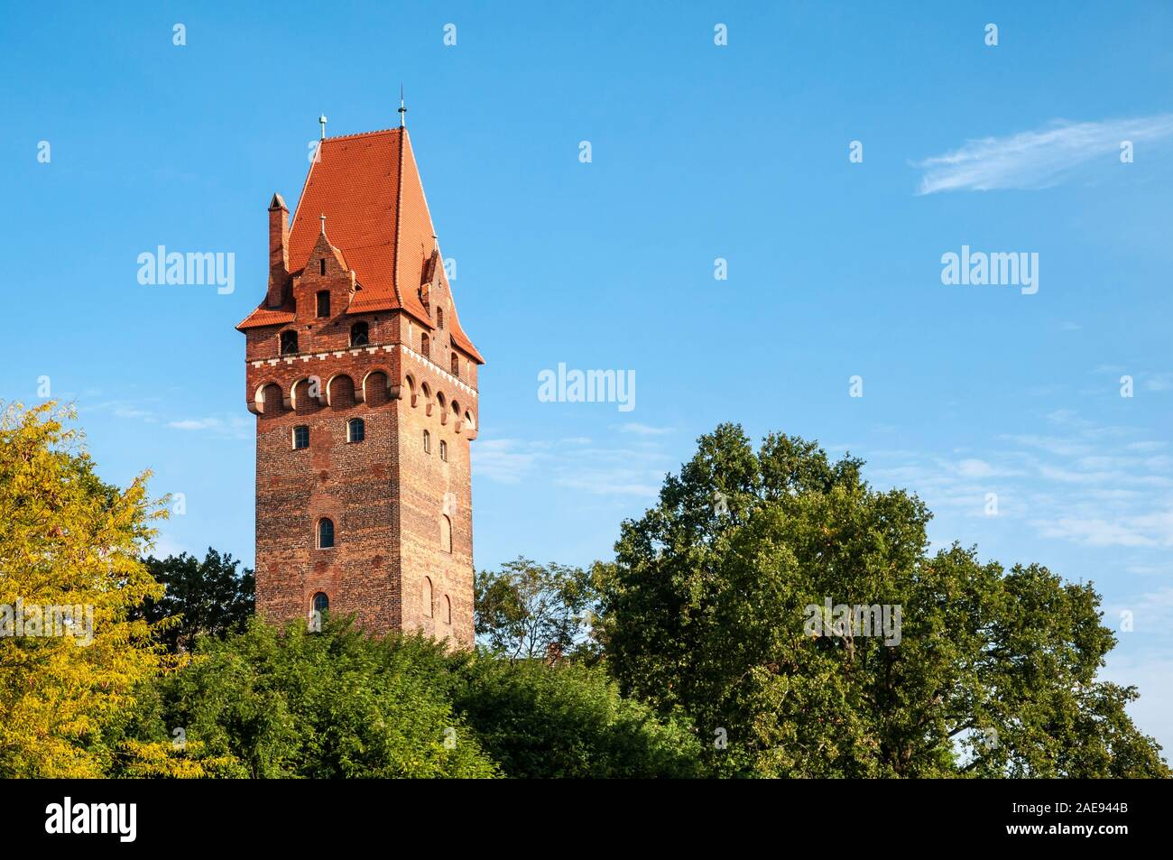Burg Tangermuende Castle, Kapitelturm, defence tower, town of Tangermuende, along the Elbe Cycle Route, Germany Stock Photo