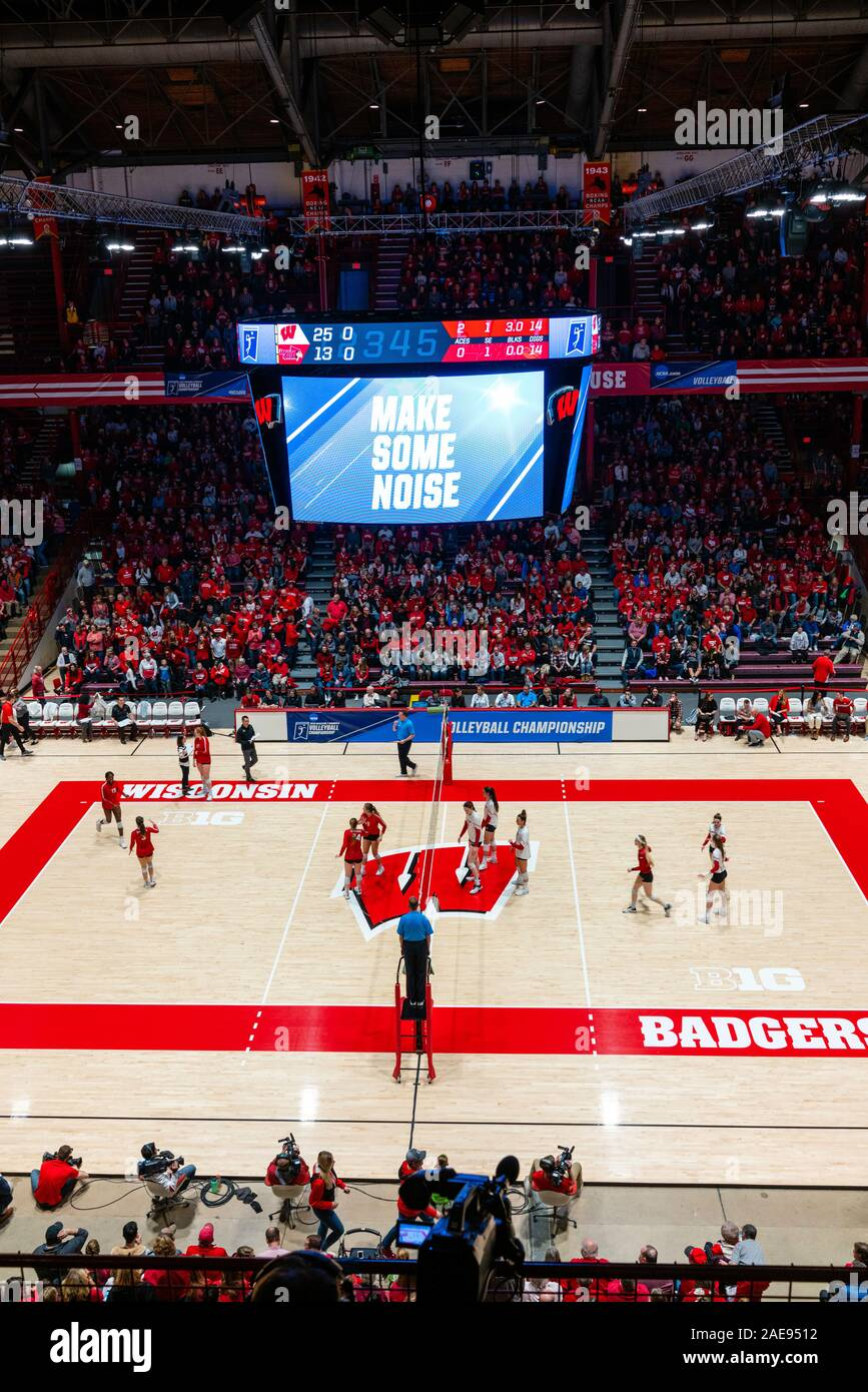 The University of Wisconsin-Madison women's volleyball team plays the Illinois State University team in the first round of the NCAA Division I Women's Stock Photo
