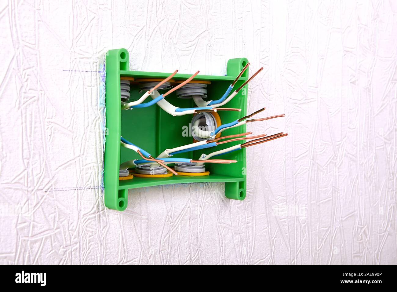 Electrical Panel Of A Distribution Box Or Junction Box With Protruding Ends Of Bare Copper Wires Household Electric Installation Work Home Wiring Re Stock Photo Alamy