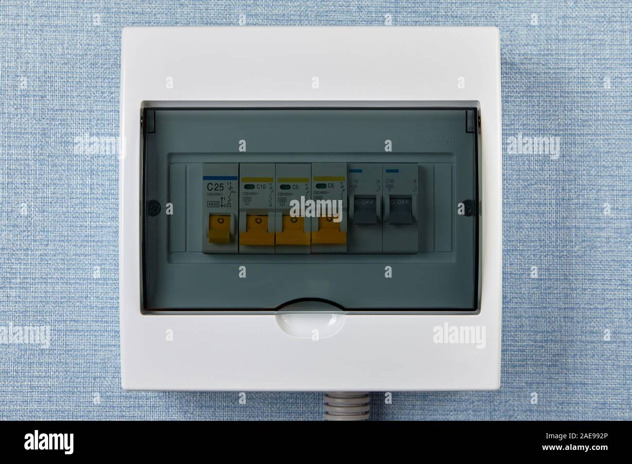 Consumer Unit With Automatic Fuses Or Switchboard With Circuit Breakers Electrical Panel Of Home Distribution Board Household Electric Wiring Fus Stock Photo Alamy