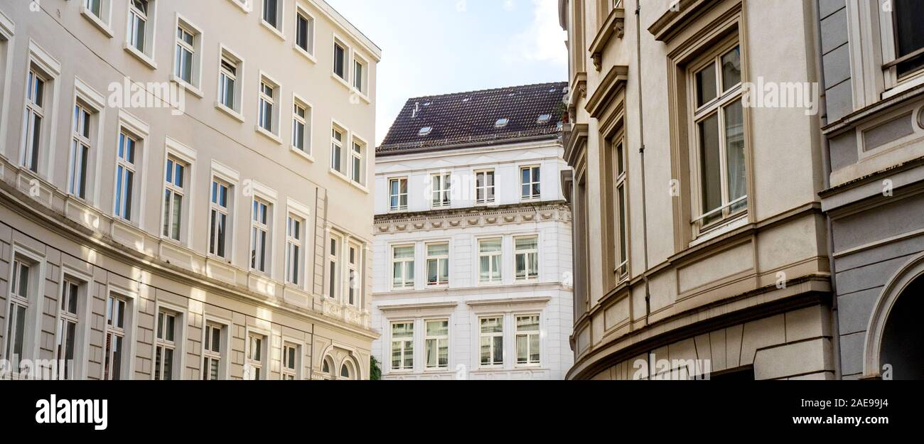 Facades and architectural styles of buildings in Neustadt Hamburg Germany Stock Photo