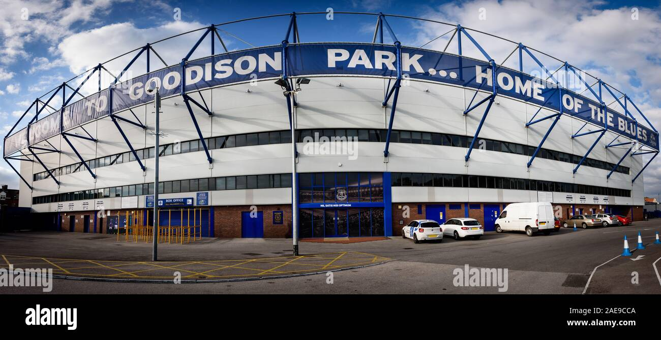 LIVERPOOL, ENGLAND - MAY 14,2015 : Goodison Park is home of Everton Football Club is an English Premier League football club based in Liverpool. Stock Photo