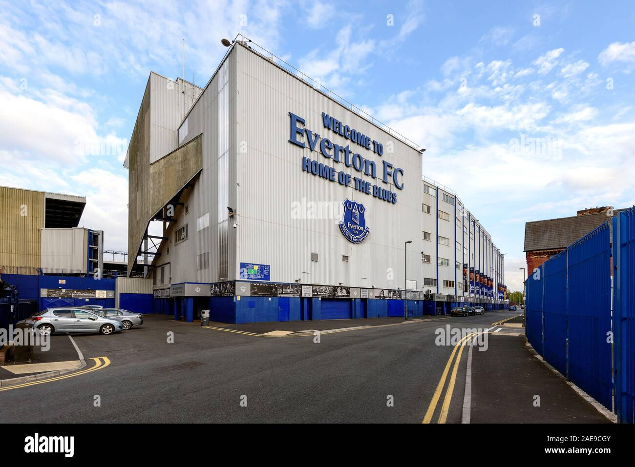 LIVERPOOL, ENGLAND - MAY 14,2015 : The Goodison park Stadium is the home stadium of Everton Football Club. Stock Photo
