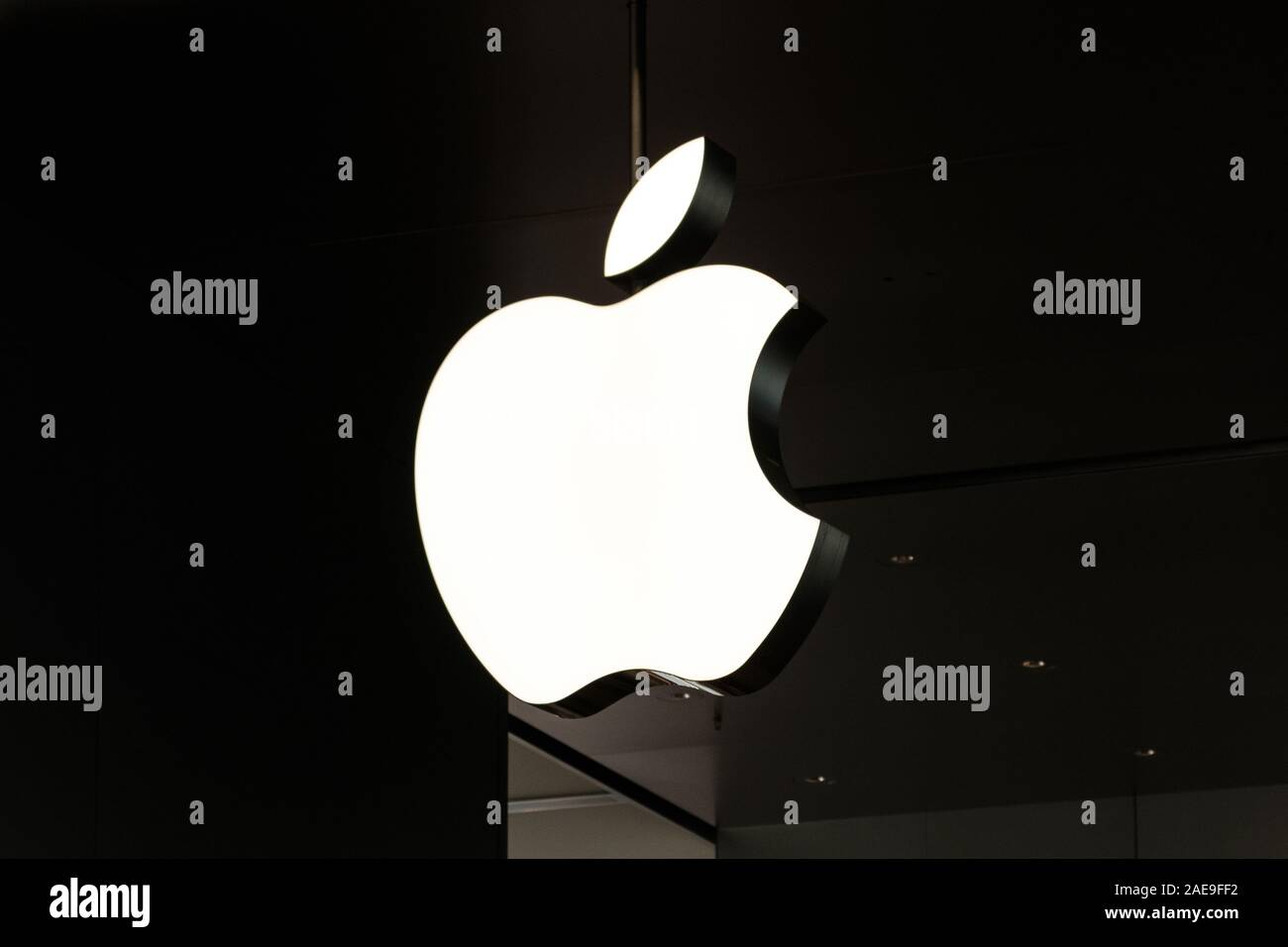 HongKong - November,  2019: The Apple logo in Apple Flagship Store in Hongkong Stock Photo