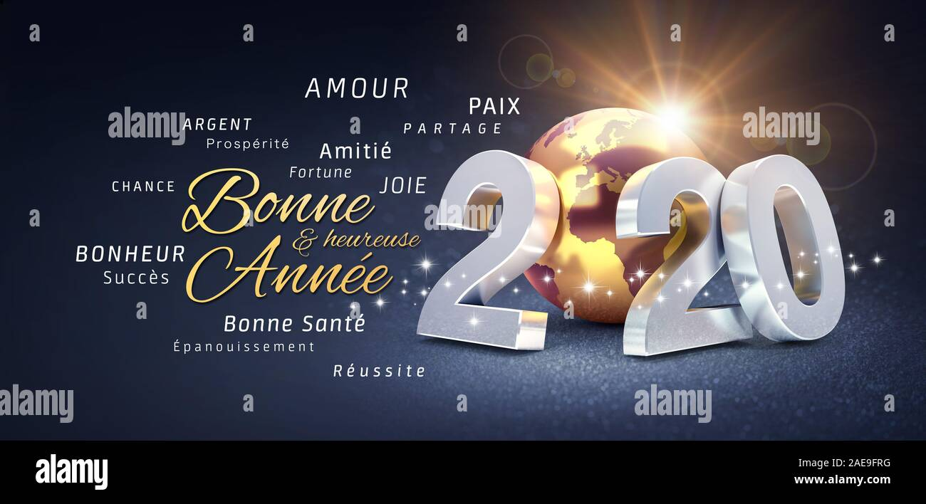 2020 New Year date number, composed with a gold colored planet earth, greetings and best wishes in French language, on a festive black background - 3D Stock Photo