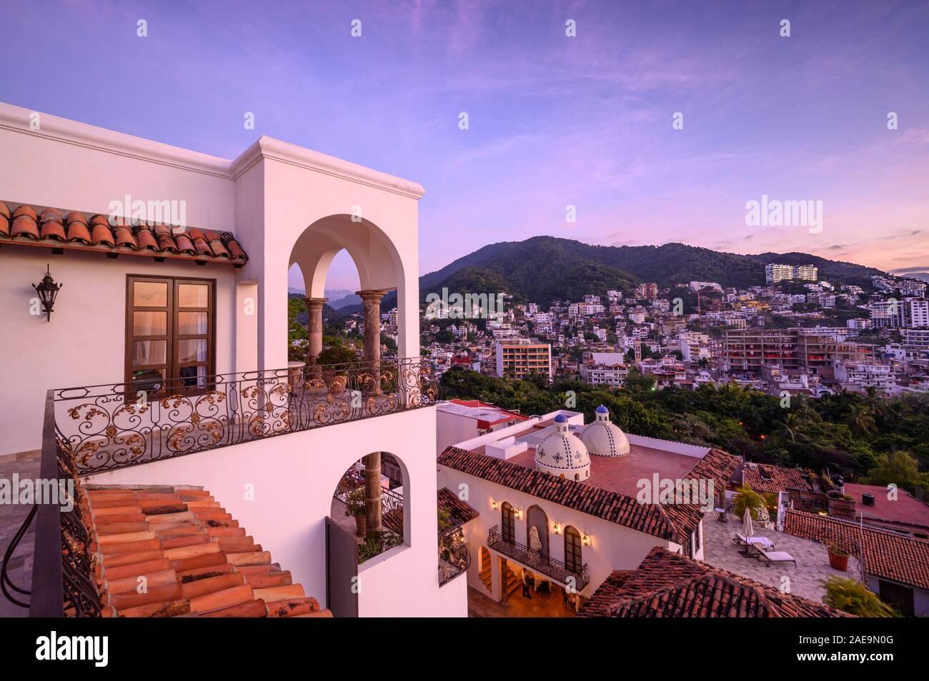 Casa Kimberly: VIPs Room view from deck; Puerto Vallarta, Jalisco, Mexico. Stock Photo