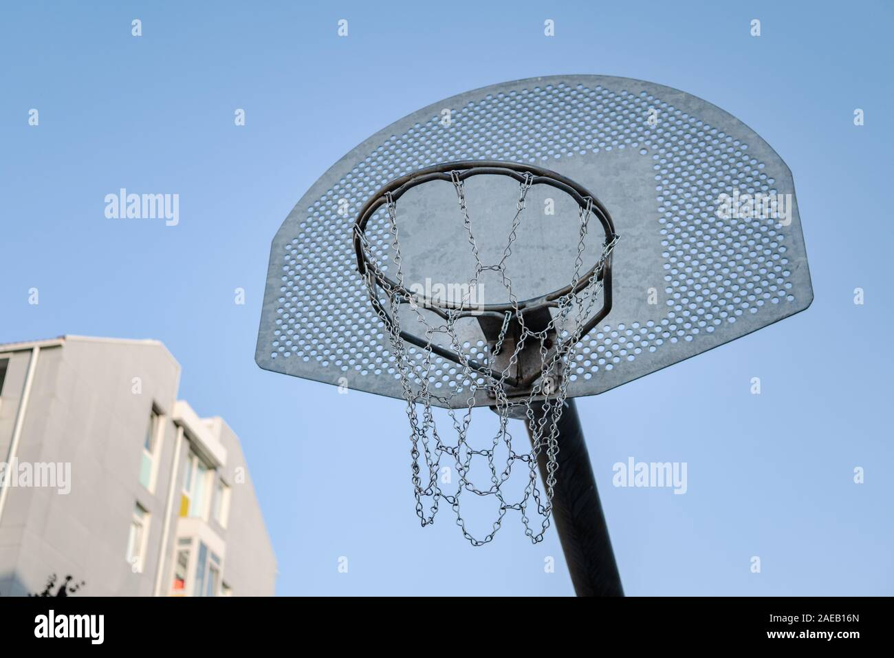 Outdoors Basketball Field Photography Background 10x6.5ft Basketball Court Background Blue Sky White Cloud Equipment Exercise Park Nature Trees