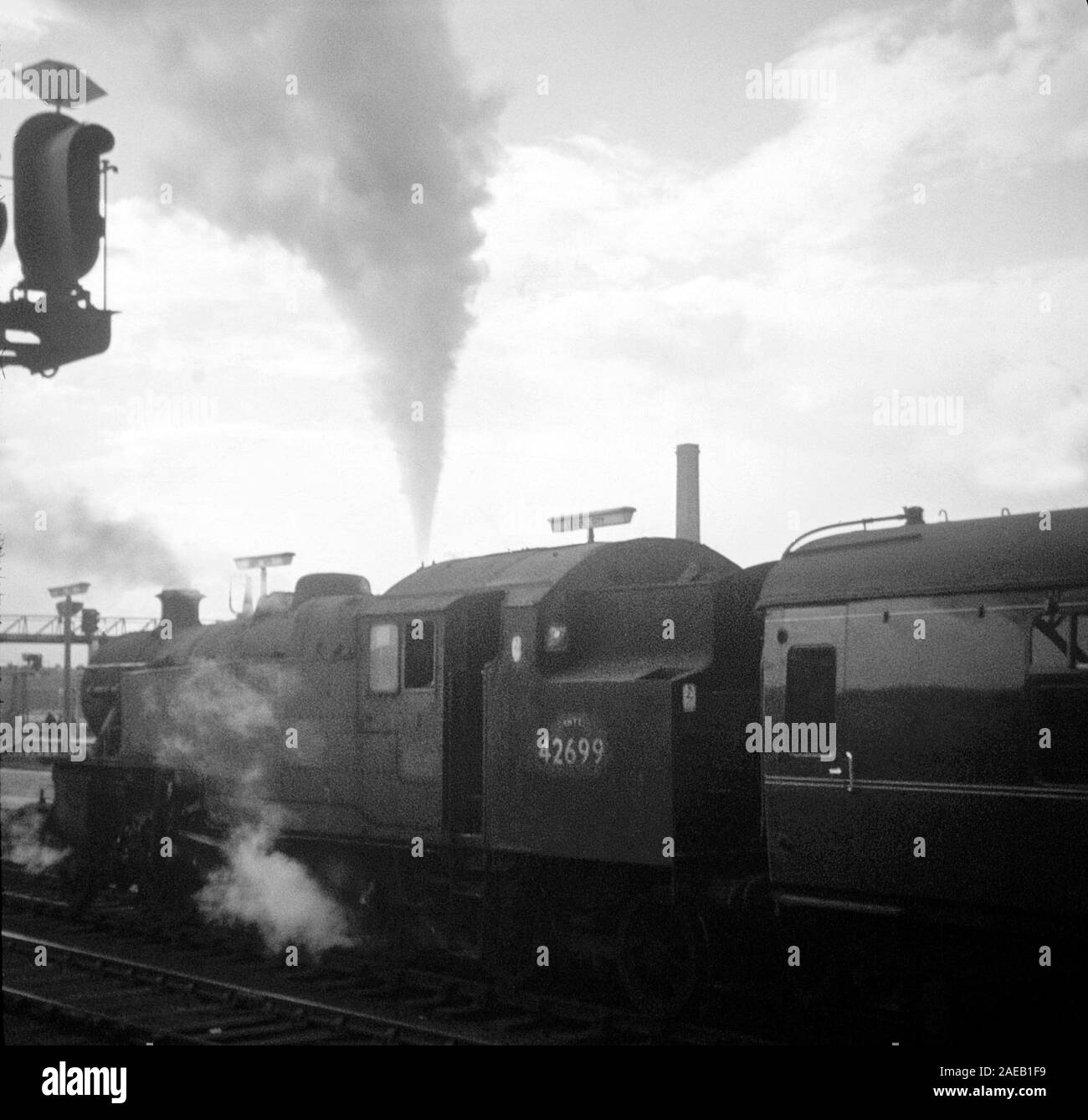 Steam trains running on British railways in 1967, towards the end of main line steam, at Leeds City Station, Northern England, UK Stock Photo
