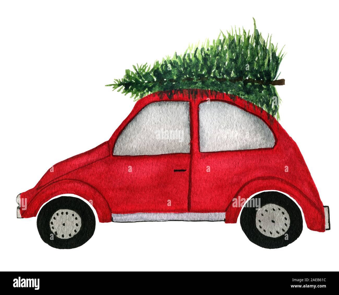 Car With Christmas Tree On Top Decoration  from c8.alamy.com