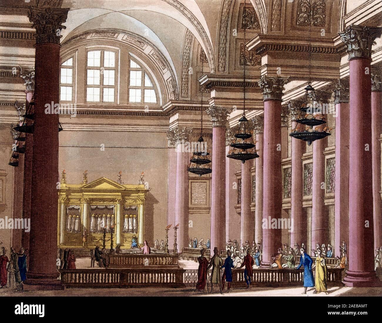 "Synagogue en Palestine (Judee) - in ""Le Costume ancien et moderne"" de Jules Ferrario, 1819-1820 Stock Photo"