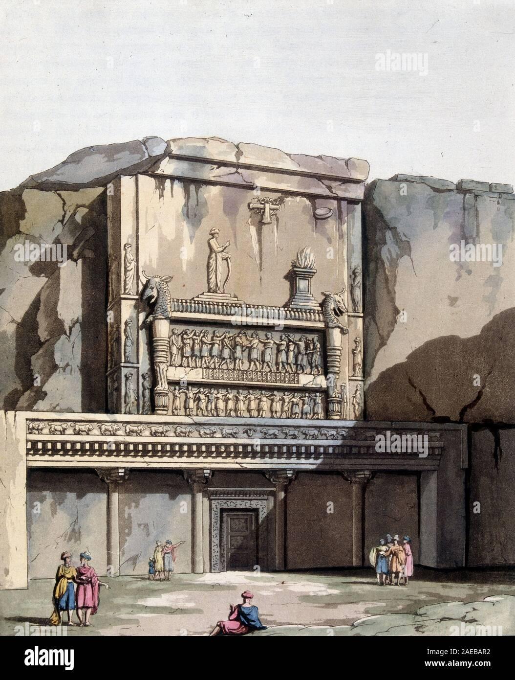 """Tombeaux de Nakschi-Rustan en Perse - in """"Le costume ancien et moderne"""" par Jules Ferrario, ed. Milan, 1819-20 Stock Photo"""