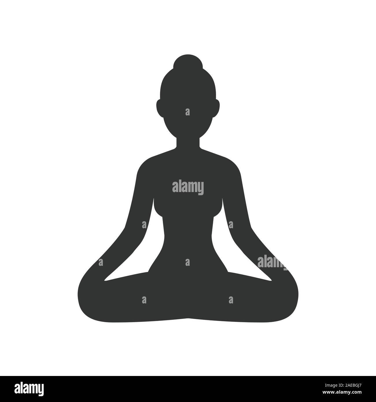 Woman Meditating Sitting In Lotus Pose Stylized Female Body Silhouette Simple Vector Icon Isolated On White Yoga And Meditation Clip Art Illustrati Stock Vector Image Art Alamy