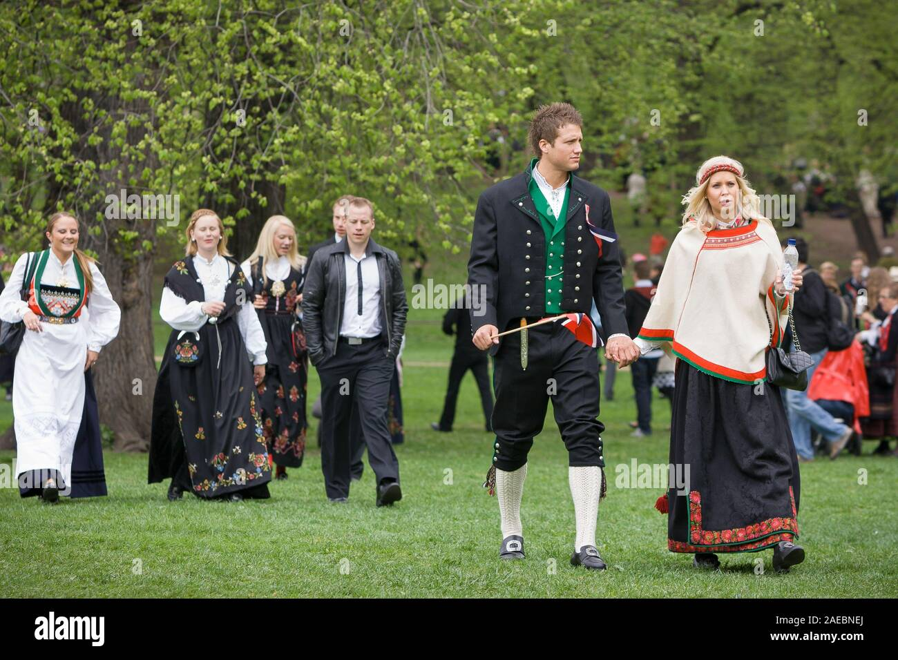 Oslo, Norway - May 17, 2010: National day in Norway. Norwegians after traditional celebration and parade on Karl Johans Gate street. Stock Photo