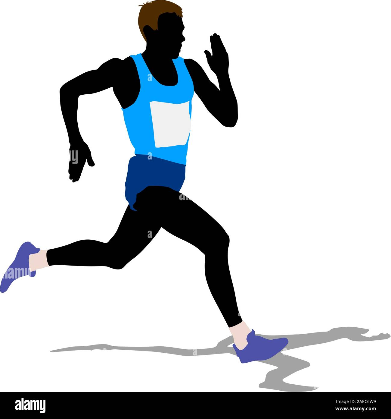 athlete on running race, silhouettes. vector illustration stock vector  image & art - alamy  alamy