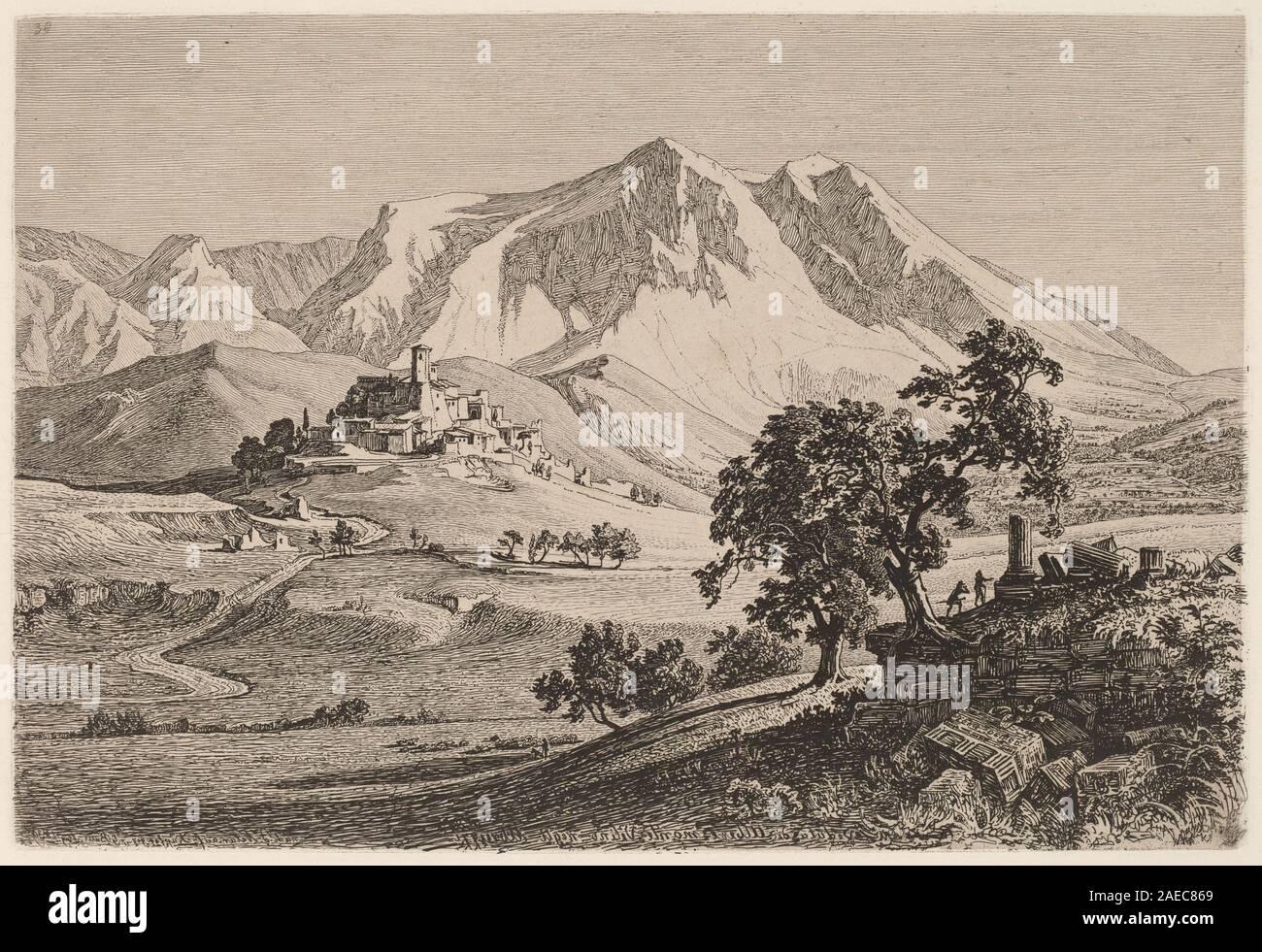 Veduta di Albe e Monte Velino negli Abruzzi; 1839date Georg Heinrich Busse, Veduta di Albe e Monte Velino negli Abruzzi, 1839 Stock Photo