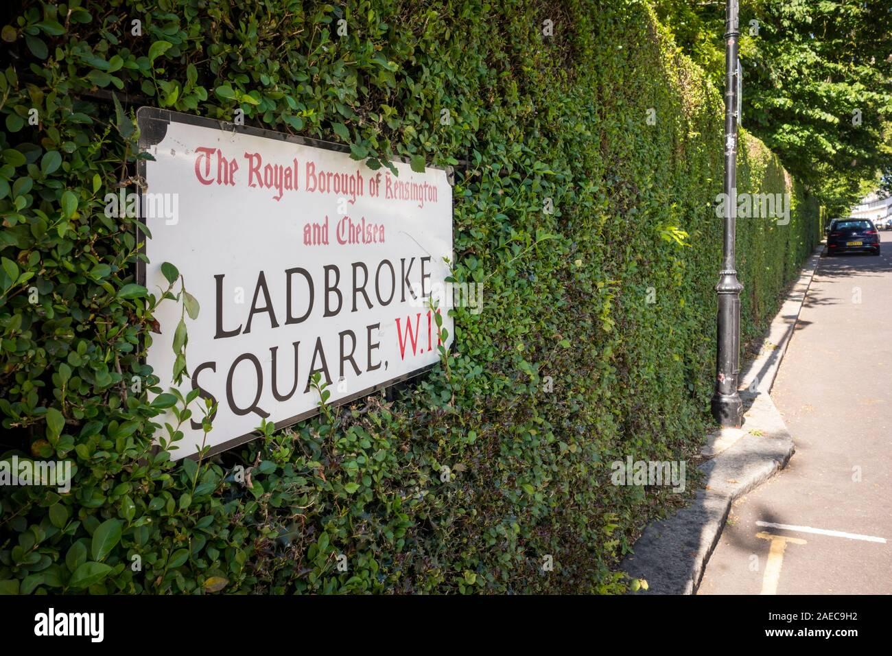 Ladbroke Square road name sign, Royal Borough of Kensington and Chelsea, London, UK Stock Photo