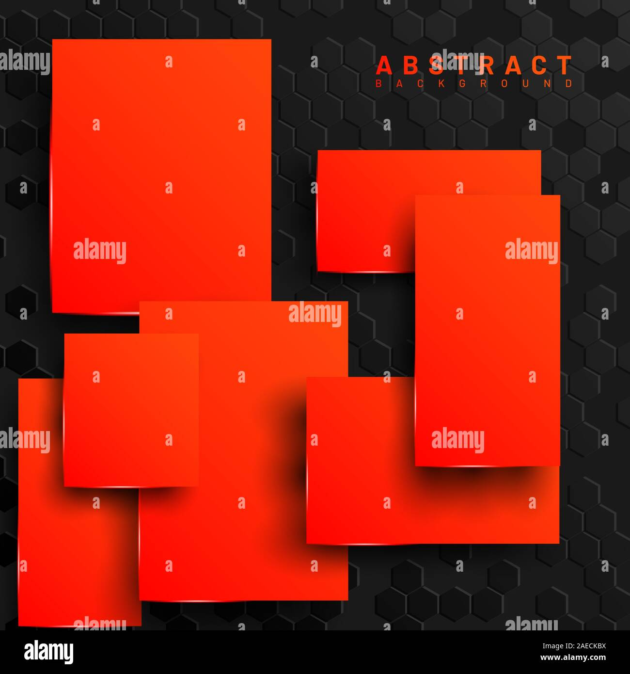 abstract 3d geometric orange squares vector hexagon background design for banners wallpaper web etc 2AECKBX
