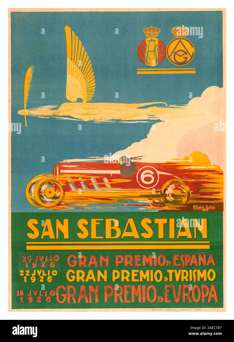 1926 Vintage Grand Prix Poster for the 1926 San Sebastián Grand Prix held at the Circuito Lasarte in San Sebastian, Spain on 18 July 1926. It was also designated as the European Grand Prix, and was the third race the 1926 AIACR (predecessor of the FIA) World Manufacturers' Championship season. The Delage 155B made its racing debut here but proved to be quite challenging to drive, the works Bugatti 39A's took the 1st place victory and third place in the event. Stock Photo