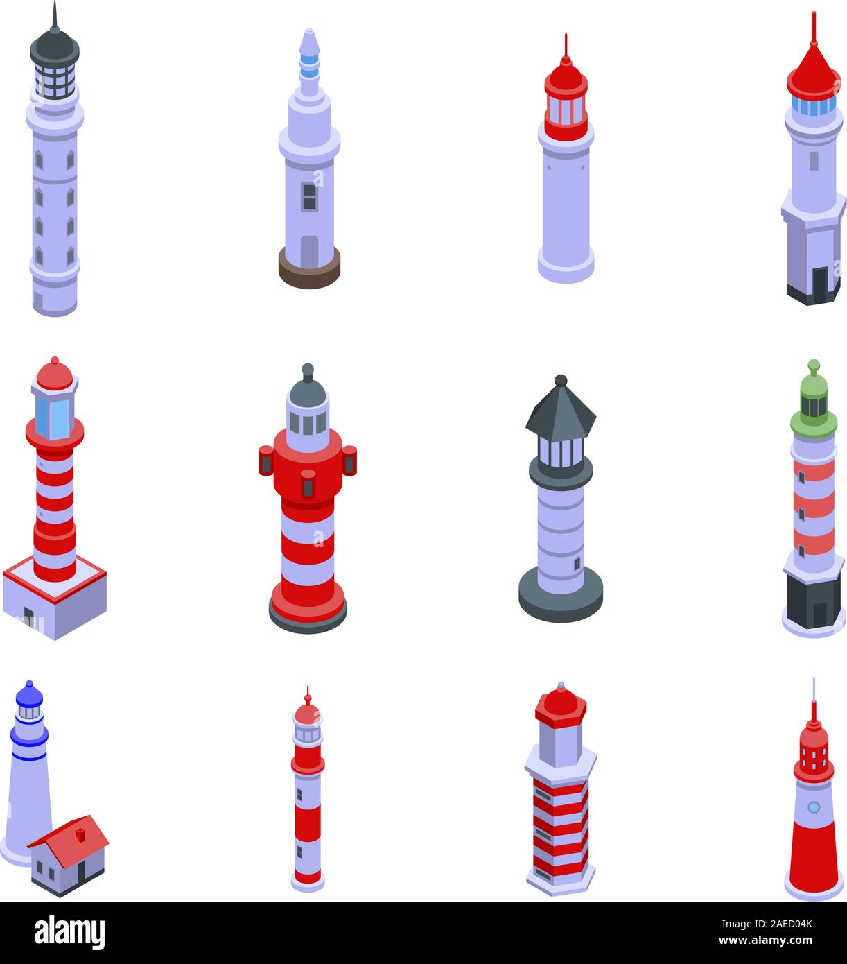 Lighthouse icons set, isometric style Stock Vector